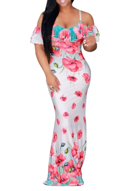 Women Sexy Strap Cold Shoulder Ruffle Floral Printed Maxi Dress Pink