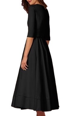 Women Elegant Plain V Neck Half Sleeve Evening Dress Black