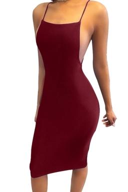 Women Sexy Strap Backless Tight Club Wear Dress Ruby
