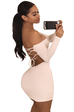 Women Sexy Off Shoulder Backless Lace Up Club Wear Dress Pink