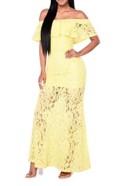 Women Elegant Off Shoulder Lace Cut Out Maxi Dress Yellow