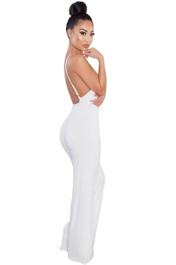 Women Sexy V Neck Backless Straps Wide Legs Jumpsuit White