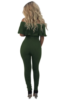 Women Off Shoulder Ruffle Hollow Out Legs Draw String Jumpsuit Green