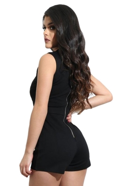 Women Sexy Mesh Patchwork See Through Zipper Romper Black