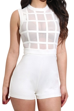 Women Sexy Mesh Patchwork See Through Zipper Romper White