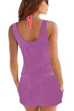 Women Casual Pocket Crew Neck Romper Purple