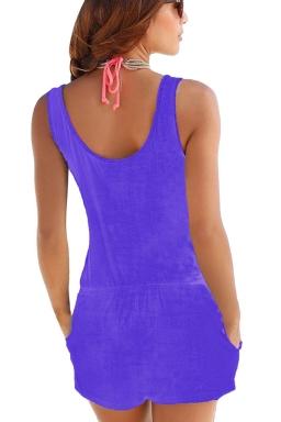 Women Casual Pocket Crew Neck Romper Sapphire Blue