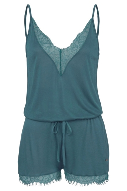 Women Sexy V Neck Straps Lace Patchwork Draw String Romper Turquoise