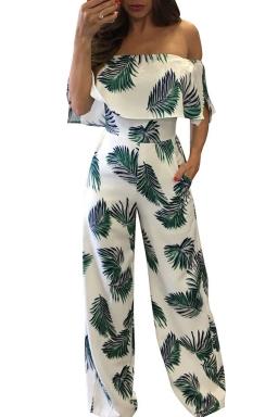 Women Sexy Off Shoulder Ruffle High Waist Printed Jumpsuit Green