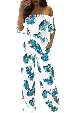 Women Sexy Off Shoulder Ruffle High Waist Printed Jumpsuit Turquoise