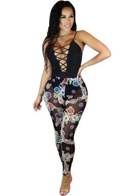 Women Sexy Straps Lace-Up Cut Out See Through Jumpsuit Black