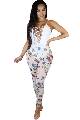 Women Sexy Straps Lace-Up Cut Out See Through Jumpsuit White