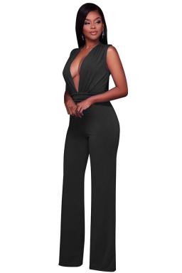 Women Sexy Deep V Neck High Waist Wide Legs Jumpsuit Black