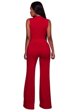 Women Sexy Deep V Neck High Waist Wide Legs Jumpsuit Red