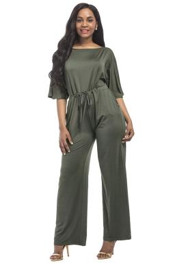 Women Elegant Plus Size Draw String High Waist Jumpsuit Army Green