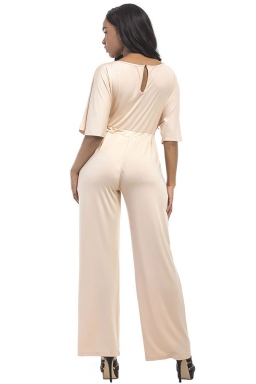 Women Elegant Plus Size Draw String High Waist Jumpsuit Apricot