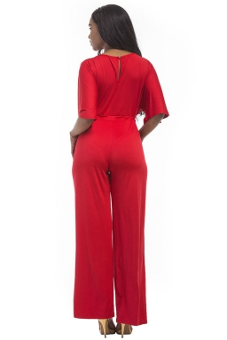 Women Elegant Plus Size Draw String High Waist Jumpsuit Red