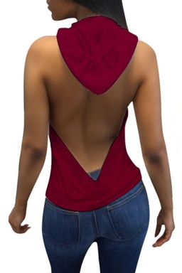 Women Sexy Hooded Backless Sleeveless Loose Top Ruby
