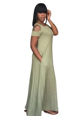 Women Casual Cross String Cold Shoulder Crew Neck Maxi Dress Green