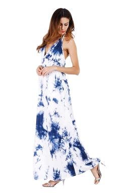 Women Sexy Halter Backless Printed Maxi Dress Blue