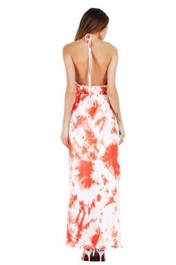 Women Sexy Halter Backless Printed Maxi Dress Orange