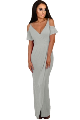 Women Strap V Neck Cold Shoulder Split Maxi Dress Gray