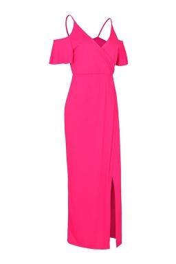 Women Strap V Neck Cold Shoulder Split Maxi Dress Rose Red