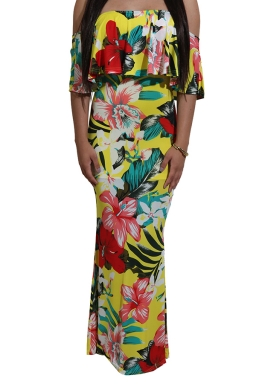 Women Sexy Off Shoulder Ruffle Floral Printed Maxi Dress Yellow