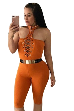 Women Sexy Lace Up Deep V Halter Plain Jumpsuit Orange