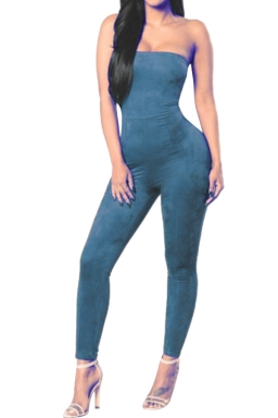 Women Sexy Off Shoulder Fitted High Waist Jumpsuit Blue