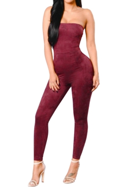 Women Sexy Off Shoulder Fitted High Waist Jumpsuit Ruby