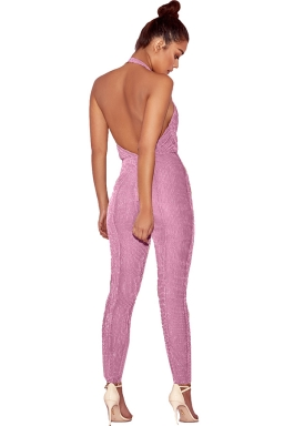 Women Sexy Halter Deep V Backless Fitted Jumpsuit Pink