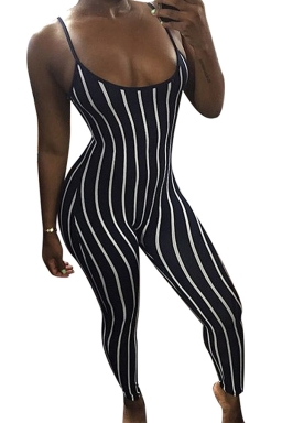 Women Sexy Stripes Fitted Strap Jumpsuit Navy Blue