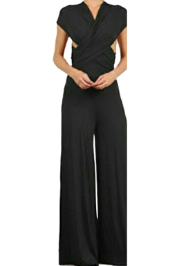 Women Sexy Wide Legs Bandage Jumpsuit Black