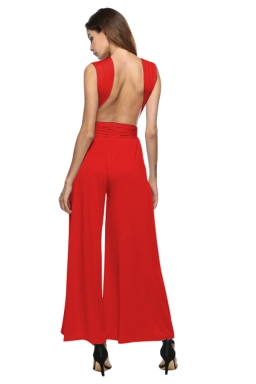 Women Sexy Wide Legs Bandage Jumpsuit Red