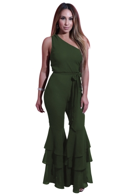 Women One Shoulder Belt Double Layers Bell Bottom Jumpsuit Army Green