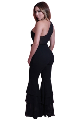 Women One Shoulder Belt Double Layers Bell Bottom Jumpsuit Black