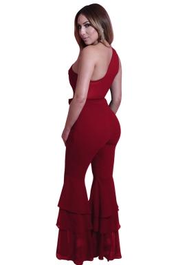 Women One Shoulder Belt Double Layers Bell Bottom Jumpsuit Ruby
