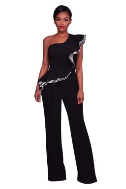Women Elegant One Shoulder Ruffle High Waist Wide Legs Jumpsuit Black