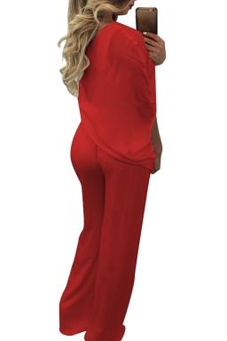 Women Sexy One Shoulder Wide Legs Belt Jumpsuit Red