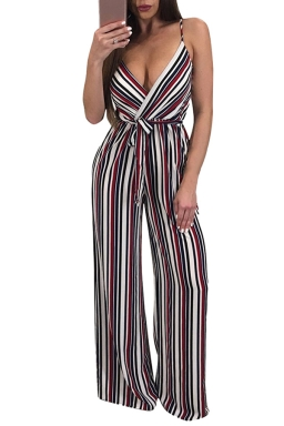 Women Sexy Strap Deep V Neck Printed Belt Wide Leg Jumpsuit Ruby