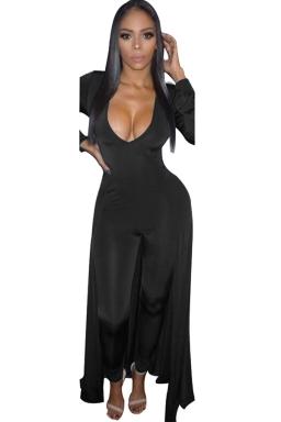 Women Sexy Deep V Neck Long Sleeve Skinny Jumpsuit Dress Black