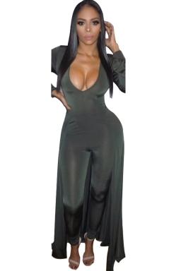 Women Sexy Deep V Neck Long Sleeve Skinny Jumpsuit Dress Dark Green