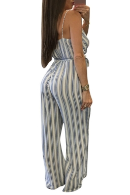 Women Sexy Strap Deep V Neck Printed Belt Wide Leg Jumpsuit White