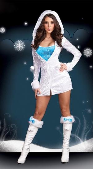29 75 White Eskimo Fur Trim Hooded Womens Snowman