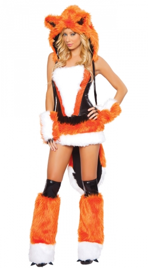 Womens Sexy Cheshire Fox Halloween Costume Orange Adult Costume