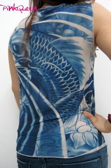 Tattoo dress blue koi fish tattoo sleeveless t for Koi fish dress
