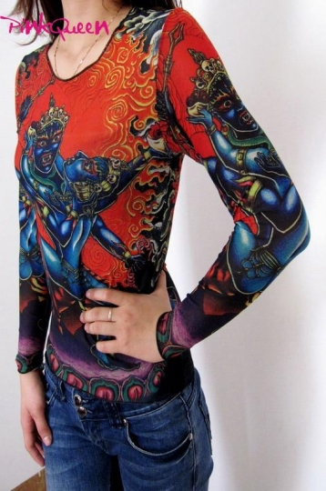 Long Sleeve Tattoo Sleeve For Black Men: Tatoo Tops-$11.87 Dancing Ghost Tattoo Long Sleeves T