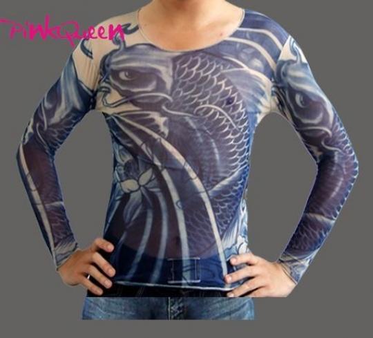 Tattoo dress blue koi fish tattoo long shirt pink queen for Koi fish dress