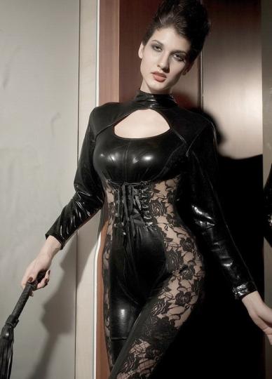 Front Zipper PU Leather Lace Catsuit Lingerie Black Vinyl